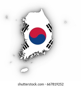 South Korea Map Outline with South Korean Flag on White with Shadows 3D Illustration