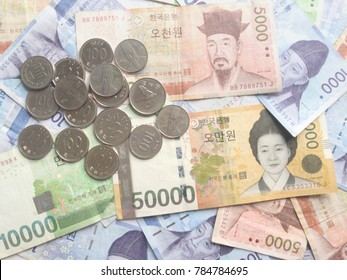 South Korea Money, Won. Concept for currency, finance, cash, e-commerce, wealth, million, economy, fund, shopping, bank notes background, mindset.