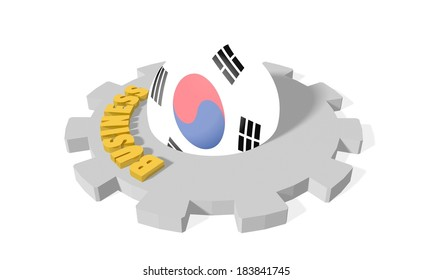 south korea national flag on sphere and business text