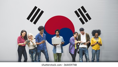 South Korea National Flag Studying Diversity Students Concept