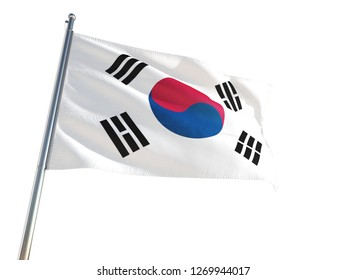 South Korea National Flag waving in the wind, isolated white background. High Definition