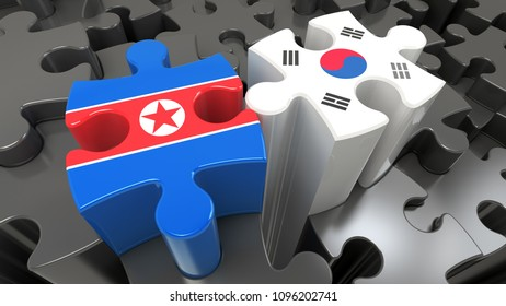 South Korea and North Korea flags on puzzle pieces. Political relationship concept. 3D rendering
