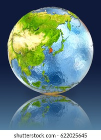 South Korea on globe with reflection. Illustration with detailed planet surface. Elements of this image furnished by NASA.