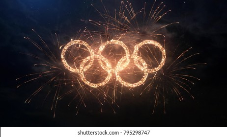SOUTH KOREA PYEONGCHANG FEBRUARY 2018: Winter Olympic Games greeting rings logo with particles and sparks on night sky with fireworks, magic typography desing, editorial.