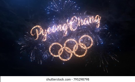 SOUTH KOREA PYEONGCHANG FEBRUARY 2018: Winter Olympic Games greeting text and logo with particles and sparks on night sky with fireworks, magic typography desing, editorial.