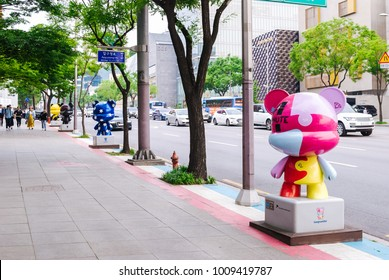 SOUTH KOREA, SEOUL - MAY 12, 2017: K-pop Gangnamdols on the Hallyu K-STAR Road in Seoul Gangnam District. K-pop is a music genre originating in South Korea.
