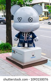 SOUTH KOREA, SEOUL - MAY 12, 2017: EXO GangnamDol on the Hallyu K-STAR Road in Seoul Gangnam District. EXO is a South Korean-Chinese K-pop music group.