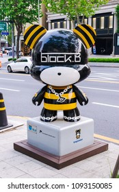 SOUTH KOREA, SEOUL - MAY 12, 2017: Block B GangnamDol on the Hallyu K-STAR Road in Seoul Gangnam District. Block B is a South Korean K-pop music group.