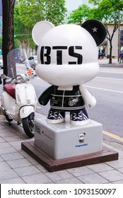 SOUTH KOREA, SEOUL - MAY 12, 2017: BTS GangnamDol on the Hallyu K-STAR Road in Seoul Gangnam District. BTS, also known as the Bangtan Boys, is a South Korean K-pop music group.