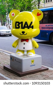 SOUTH KOREA, SEOUL - MAY 12, 2017: B1A4 GangnamDol on the Hallyu K-STAR Road in Seoul Gangnam District. B1A4 is a South Korean K-pop music group.