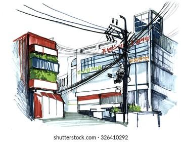 South Korea, Seoul. Outdoor urbane sketch, marker hand city illustration.