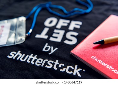 South Korea, Seoul, September 7, 2017. The gifts (eco bags, ballpoint pens, and notebooks) were given and participated in a photo training event held by the Korean branch of Shutterstock.