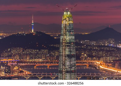 South Korea skyline of Seoul, The best view of  Lotte world mall at Namhansanseong Fortress.