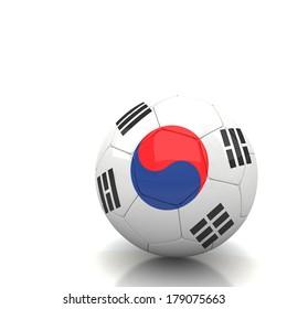 South Korea soccer ball isolated white background