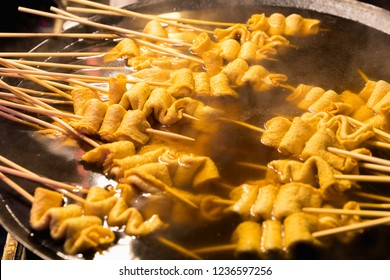 South Korea street food, Korea local food oden fish cake it is famous and spicy Soup in Street food Myeongdong in Seoul, South Korea