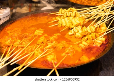 South Korea street food, Korea local food oden fish cake it is famous and spicy Soup in Myeongdong in Seoul, South Korea