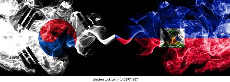 South Korea vs Haiti, Haitian smoky mystic flags placed side by side. Thick colored silky abstract smoke flags of South Korean and Haiti, Haitian