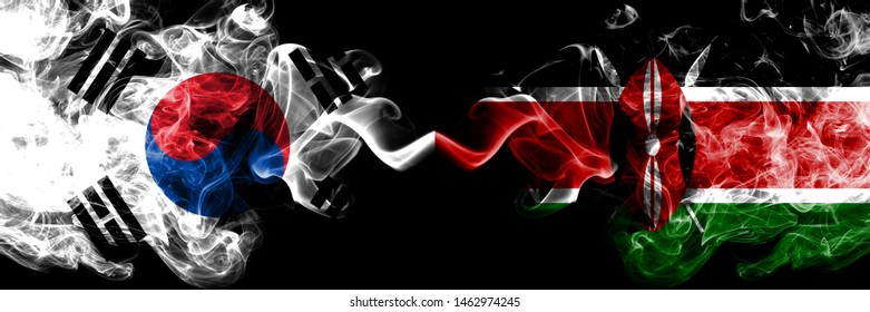 South Korea vs Kenya, Kenyan smoky mystic flags placed side by side. Thick colored silky abstract smoke flags of South Korean and Kenya, Kenyan