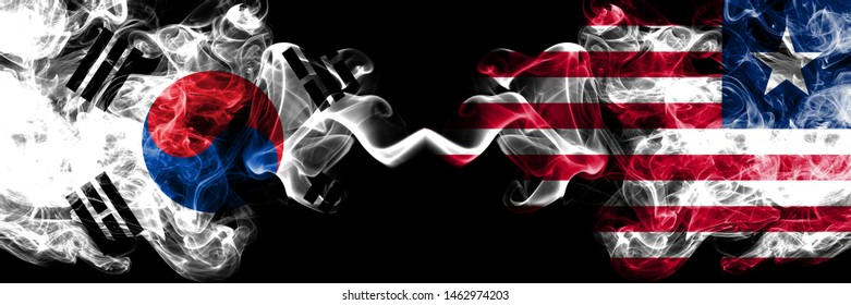 South Korea vs Liberia, Liberian smoky mystic flags placed side by side. Thick colored silky abstract smoke flags of South Korean and Liberia, Liberian