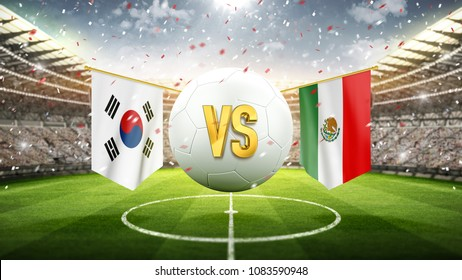 South Korea vs Mexico. Soccer concept. White soccer ball with the flag in the stadium, 2018. 3d render