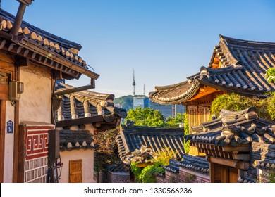South Korea,18 August 2018: Bukchon Hanok Village in Seoul, South Korea.