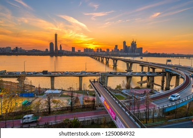 South Korea,December 1 2018 :Sunset 63 building at Seoul city and Downtown skyline in Seoul, South Korea.