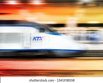 South Korea-JUNE 24, 2018: Korean Korail high-speed express train or KTX Railway,High-Speed express train. The bullet train is passing at very high speed.