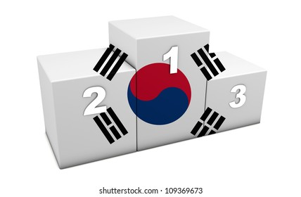 """South Korean athletics sports top positions podium. 3d rendering for concept """" the best of South Korea"""". Isolated on white"""