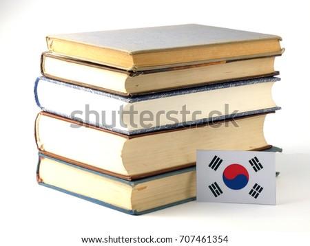 South Korean Flag Pile Books Isolated Stock Photo (Edit Now