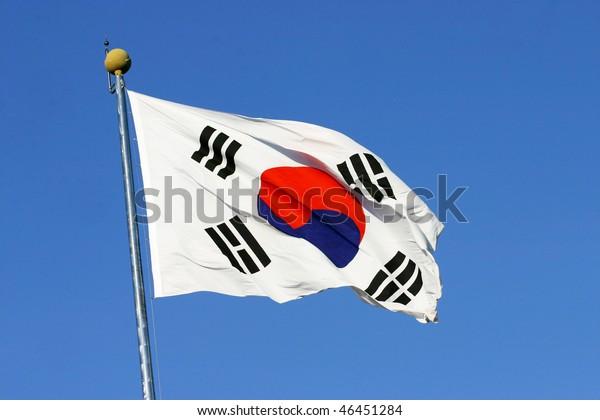 South Korean Flag waving on wind.