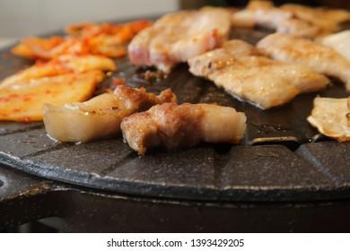 South korean food, pork belly barbecue Samgyeopsal