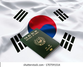 South Korean passport,Republic of Korea passport on the top of an satin korean flag
