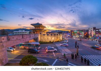 South Korea,November 17 2018 :Time lapse Traffic Suwon Changanmun Gate at Hwaseong Fortress of twilight at Suwon South Korea,November 17 2018