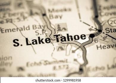 South Lake Tahoe. California. USA on a map