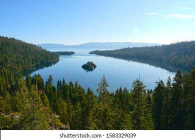 SOUTH LAKE TAHOE, CALIFORNIA, USA - AUGUST 21, 2019:  Emerald Bay on Tahoe Lake in the morning