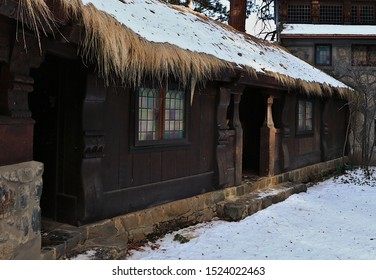 South Lake Tahoe, CA/USA 12/9/17 Detail photo of the rear portion of the historic Vikingsholm mansion at Emerald Bay State Park.  The straw roof and dark wood reflect the Scandinavian architecture.