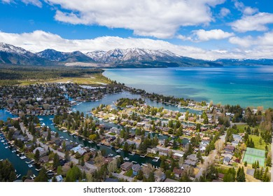 South Lake Tahoe Keys in Summer on Sunny Day with Clear Waters