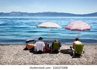 SOUTH LAKE TAHOE, USA-JUNE 17, 2017: Sunbathing on Lake Tahoe. California on June 17, 2017