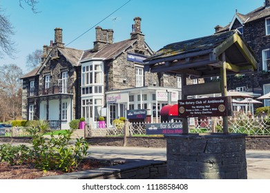 South Lakeland, UK - April 2018: Historic buildings at Ambleside, a small lakeside town situated at the head of Windermere Lake within the Lake District National Park in England