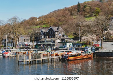 South Lakeland, UK - April 2018: Waterhead Pier at Ambleside, a lakeside town situated at the head of Windermere Lake within the Lake District National Park in England