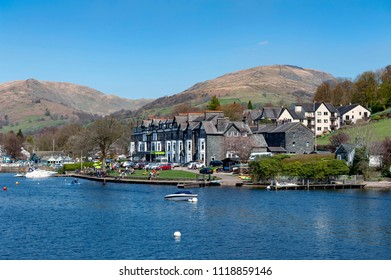 South Lakeland, UK - April 2018: Ambleside, a small lakeside town situated at the head of Windermere Lake within the Lake District National Park in England