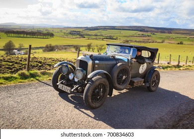 SOUTH LANARKSHIRE, SCOTLAND - MARCH 31, 2017: A 1923 Bentley 3-4 1/2 competes on the 2017 Flying Scotsman Rally for Pre War cars organised by ERA (Endurance Rally Association).