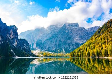 South landscape view of Prags (Braies) lake, Brunico, Bolzano, Trentino Alto Adige, Italy, Europe