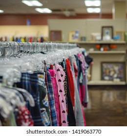 SOUTH LOUISIANA / USA - MAY 28, 2019: Goodwill is an American nonprofit organization and a second-hand store that creates jobs. Items donated to the thrift store are resold to the public.