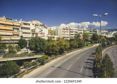 south Mediterranean capital big city buildings landmark view with big highway road through live district in summer bright warm weather time