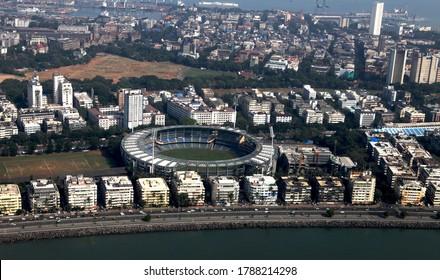 South Mumbai,Mumbai, Maharashtra / India - November, 01 2011 : Aerial view of Wankhede Cricket Stadium, Marine Drive, South Mumbai, Mumbai - MH, India