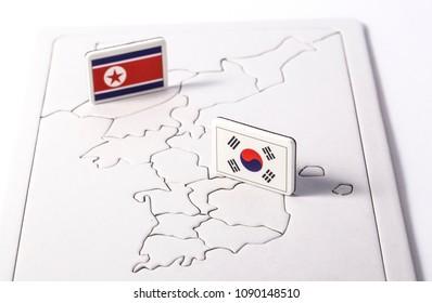 South and North Korea flag.