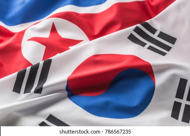 South and North Korea flag.