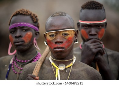 SOUTH OMO - ETHIOPIA - JULY 20, 2018: Unidentified warrior of the Mursi tribe at a wedding ceremony in the Mago National Park, Lower Omo Valley