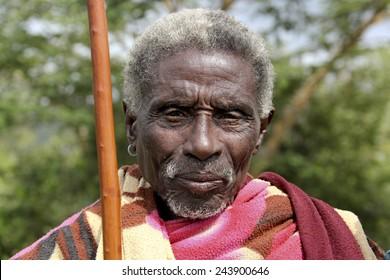 SOUTH OMO - ETHIOPIA - NOVEMBER 26, 2011: Portrait of the unidentified old man from Ethiopia, in November 26, 2011 in Omo Rift Valley, Ethiopia.